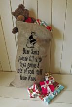Personalized Dear Santa Large Father Christmas Xmas Santa Sack / Stocking Bag Jute Hessian
